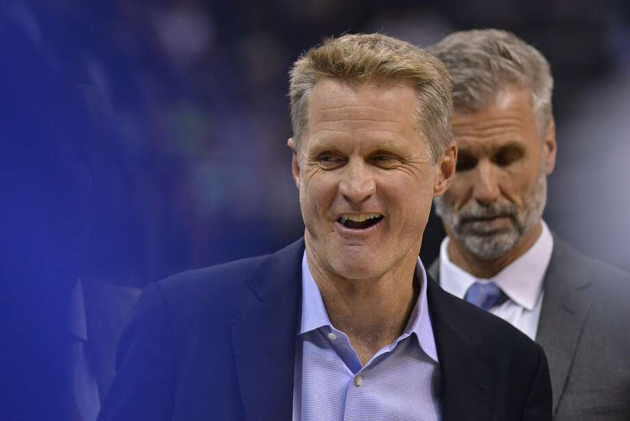 Golden State Warriors head coach Steve Kerr stands on the court in the second half of an NBA basketball game against the Memphis Grizzlies Saturday, Oct. 21, 2017, in Memphis, Tenn. (AP Photo/Brandon Dill) Photo: Brandon Dill, Associated Press