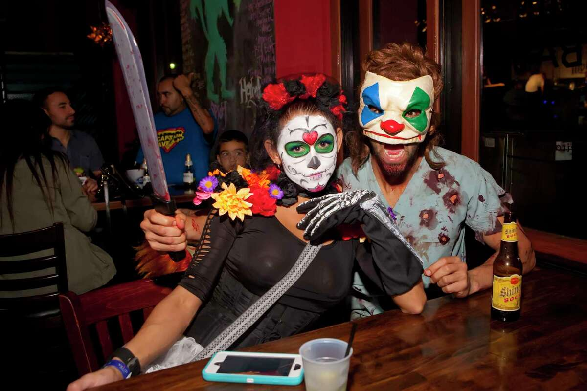 Big Bad in downtown Houston will celebrate Halloween and Dia de los Muertos in a series of parties from Oct. 30 to Nov. 4. Shown: Scenes from past holiday parties at El Big Bad.