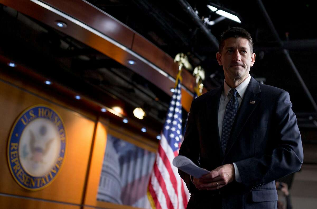House Speaker Paul Ryan (R-Wis.) speaks during a weekly news conference on Capitol Hill in Washington, Oct. 26, 2017. The House on Thursday sounded the starting gun on legislative efforts to cut taxes by as much as $1.5 trillion over the coming decade, narrowly clearing a budget blueprint that will allow a tax bill to pass Congress without any Democratic votes. (Tom Brenner/The New York Times)