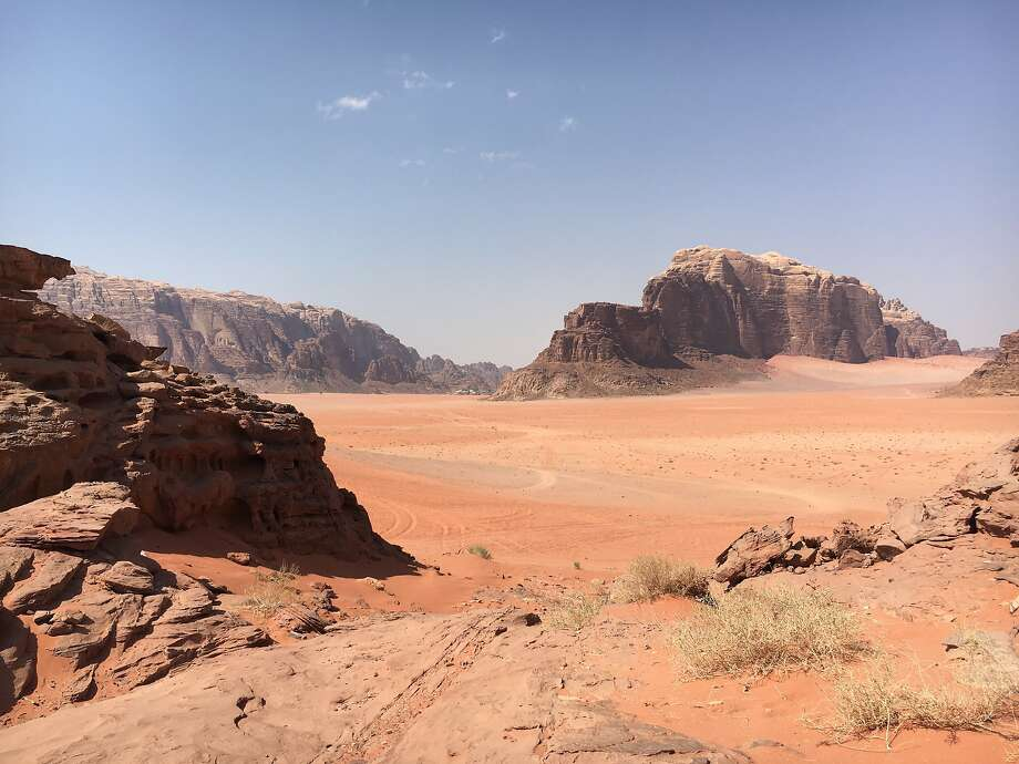 Jagged rock outcroppings in the wilderness desert of Wadi Rum Protected Area in southern Jordan. Photo: Andrew McCarthy, Special To The Chronicle
