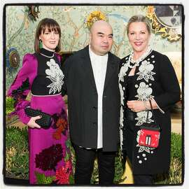 SF Fall Art & Antiques Show gala member Allison Speer (left) with designer Andrew Gn and show chairwoman Suzanne Tucker at Fort Mason Center. Oct. 25, 2017