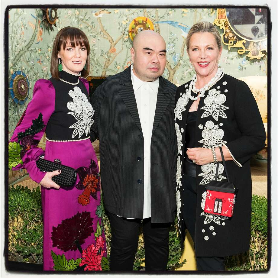 S.F. Fall Art & Antiques show gala member Allison Speer (left), designer Andrew Gn and show chairwoman Suzanne Tucker at Fort Mason Oct. 25, 2017. Photo: Drew Altizer