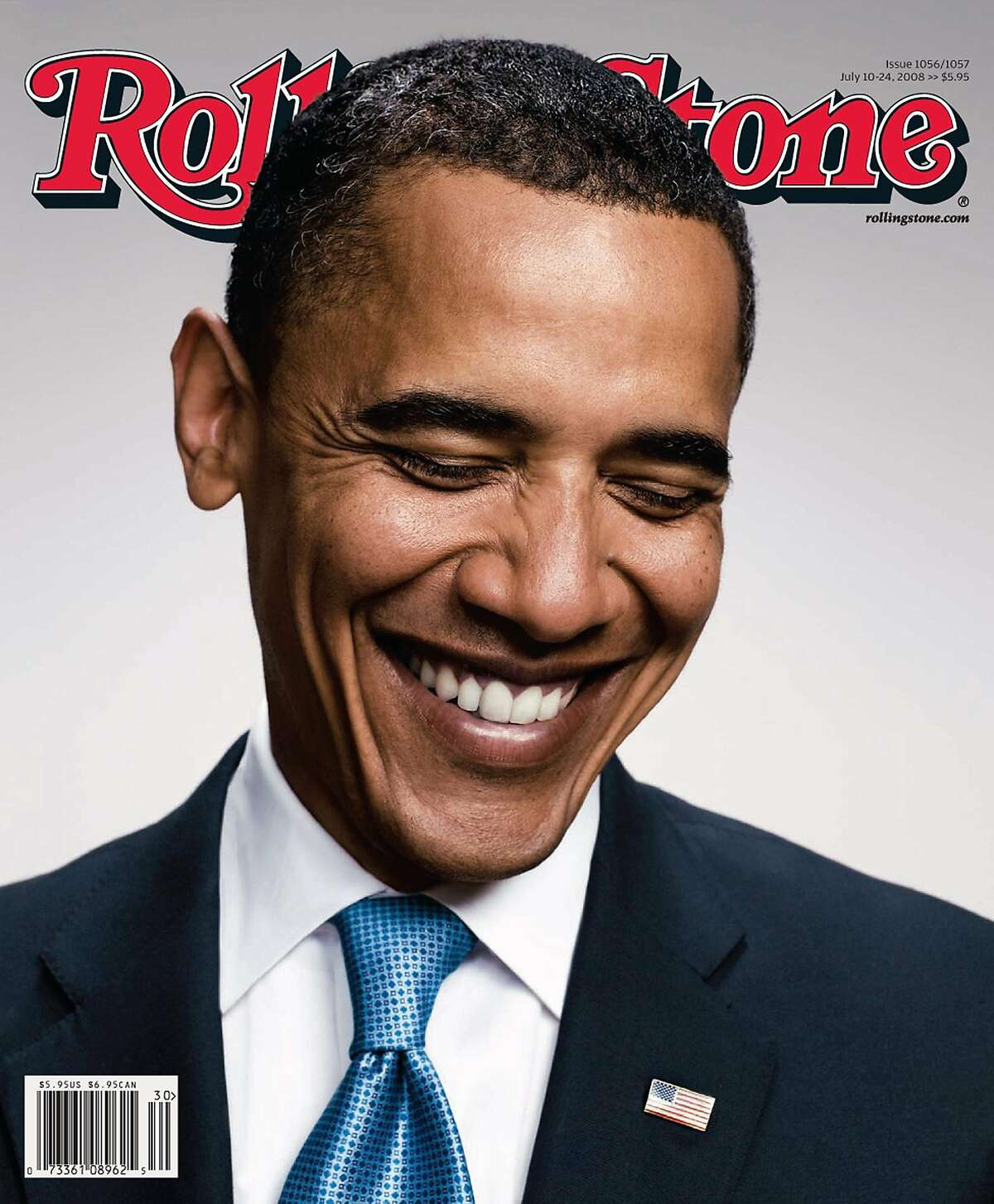 MAGAZINE COVER -- This undated handout photo provided by Rolling Stone Magazine shows the cover July 10 cover of the magazine featuring Democratic presidential candidate Sen. Barack Obama, D-Ill. promoting the magazines interview with Sen. Obama. (AP Photo/Rolling Stone)