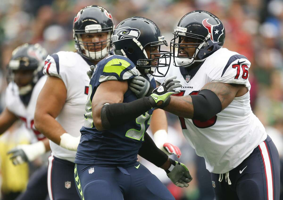 SEATTLE, WA - OCTOBER 29: Defensive end Dwight Freeney #93 of the Seattle Seahawks blocks tackle Duane Brown #76 of the Houston Texans during the first quarter of the game at CenturyLink Field on October 29, 2017 in Seattle, Washington. (Photo by Otto Greule Jr/Getty Images)