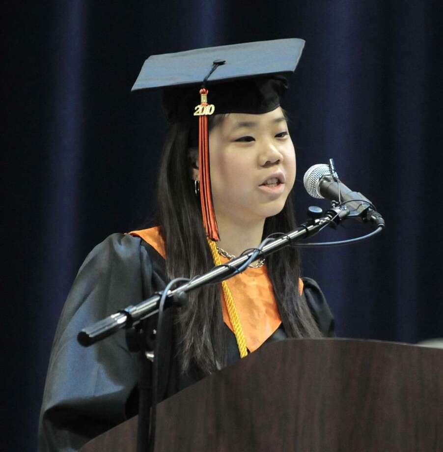 Class valedictorian Victoria Shih delivers her address to her classmates during Ridgefield High School's 94th commencement ceremony that was held on Friday June 25, 2010 at Western Connecticut State University's O'Neill Center. Photo: Lisa Weir / The News-Times Freelance