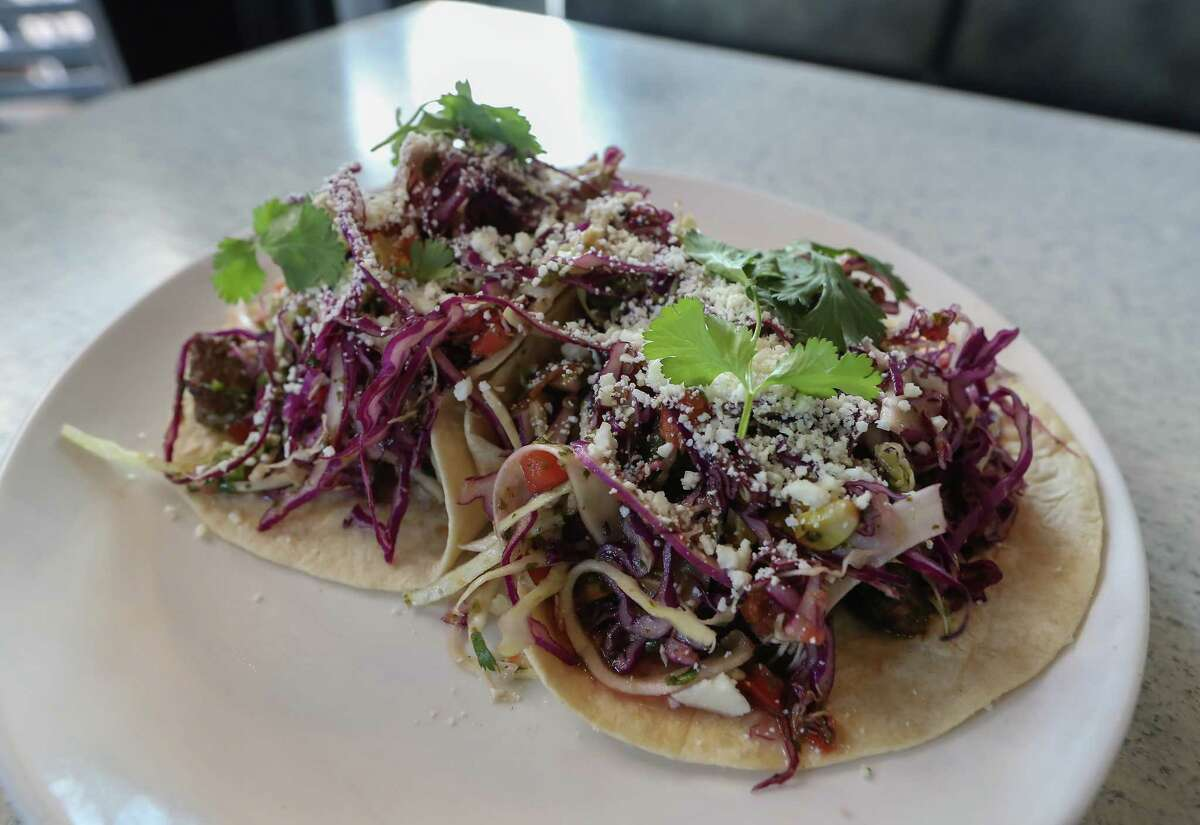 The 44 Farms Chimichurri Steak Tacos are on the menu at Dish Society.