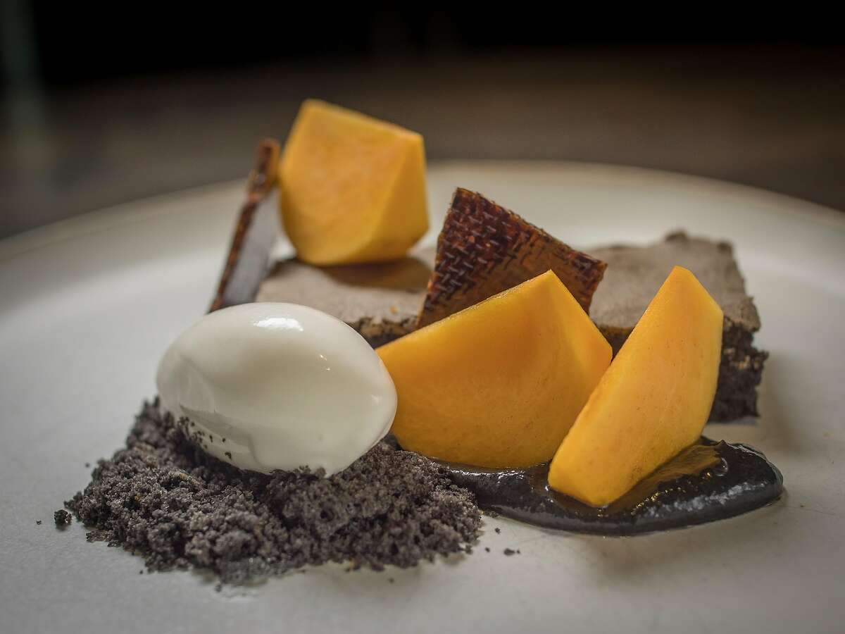 Dishes by Ron Siegel include a chocolate sesame cake.