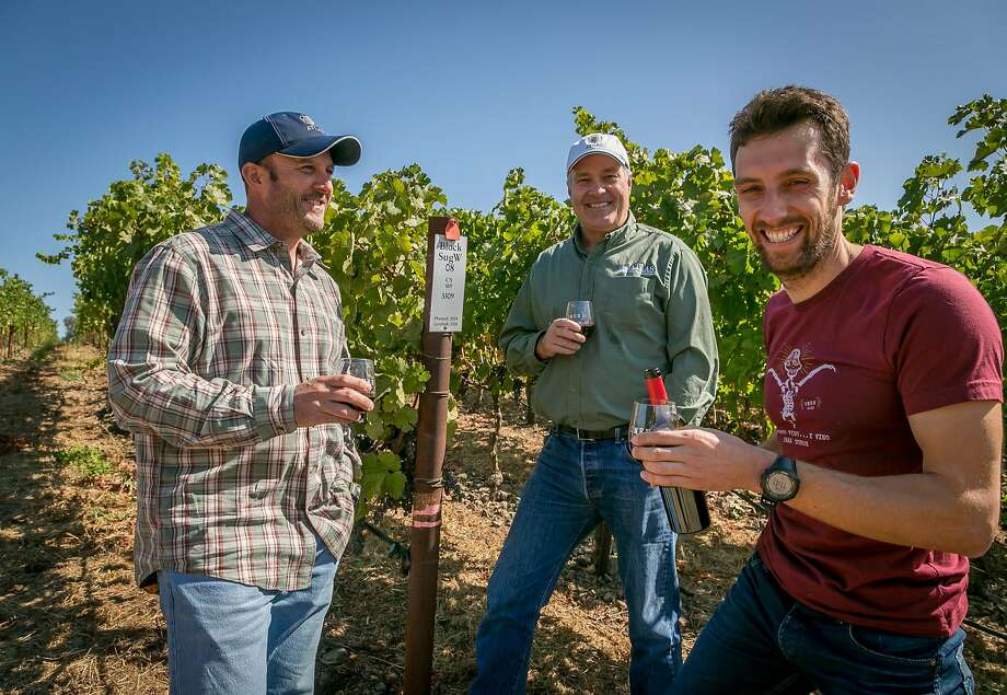 Left to right: Owner Barry Belli, owner Mike Cybulski, and winemaker Alex Remy of Atlas Wine Co. in Napa. Photo: John Storey, Special To The Chronicle