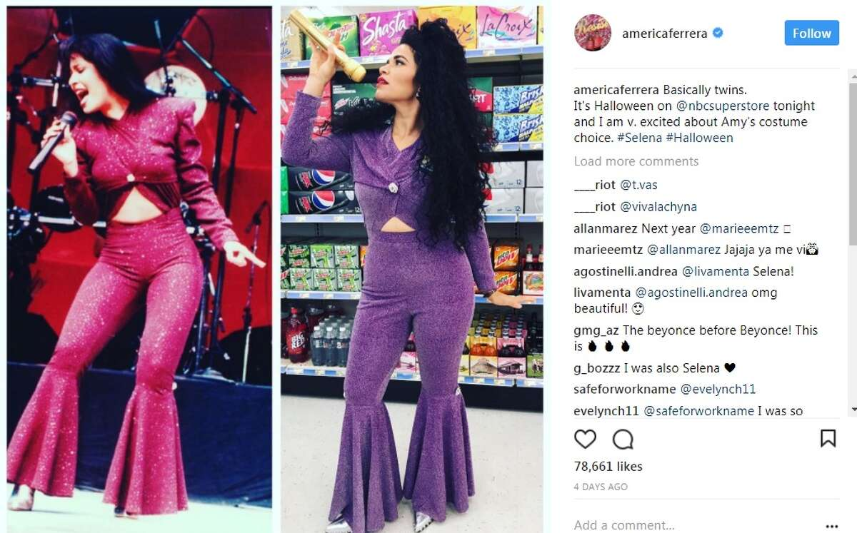 americaferrera: Basically twins. It's Halloween on @nbcsuperstore tonight and I am v. excited about Amy's costume choice. #Selena #Halloween