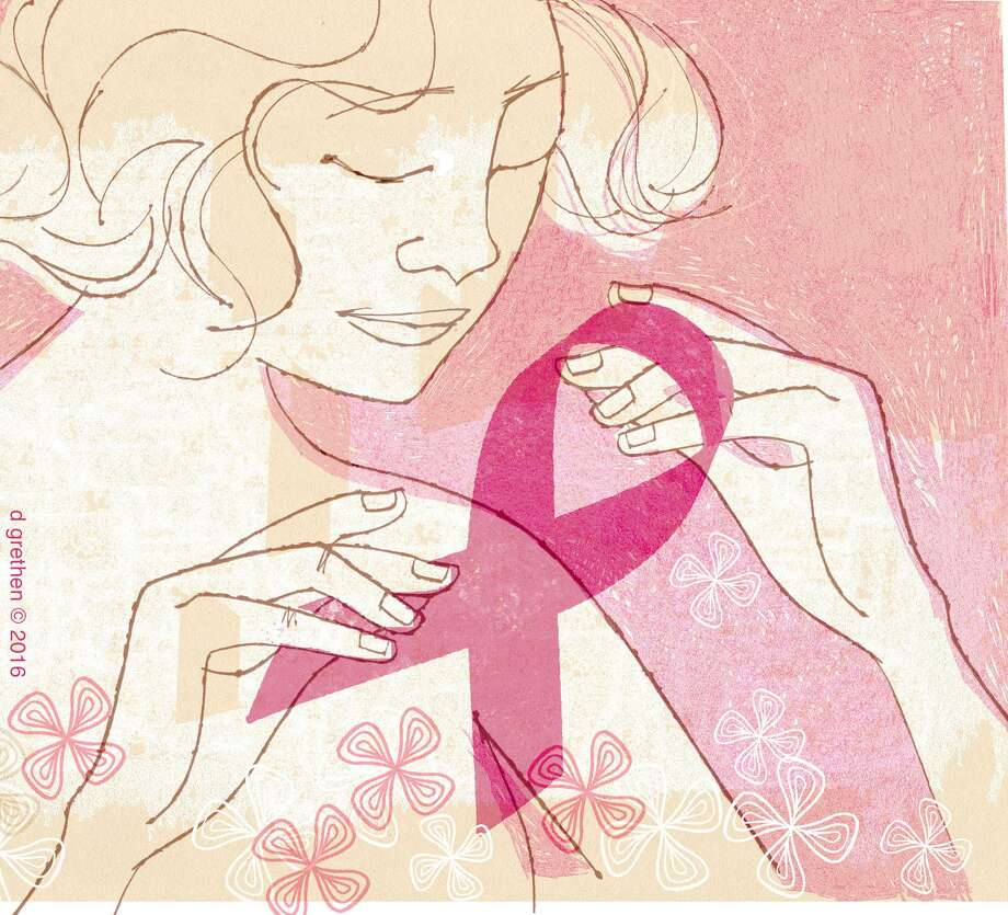 This artwork by Donna Grethen refers to October being Breast Cancer Awareness month. Photo: Donna Grethen