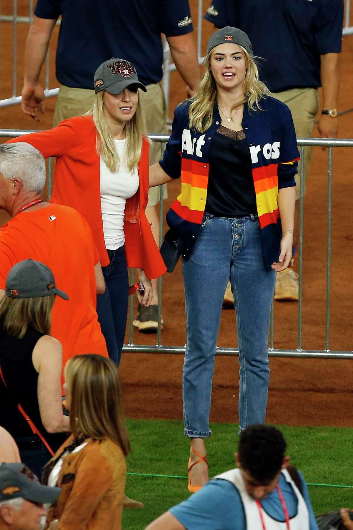 Kate Upton on the field after the Astros game 7 ALCS championship victory against the Yankees