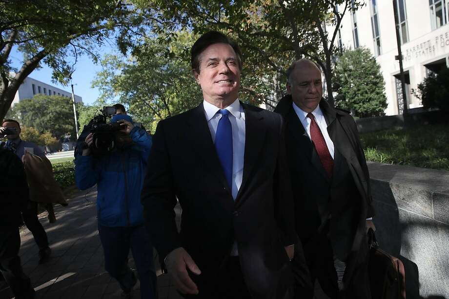 Paul Manafort, Trump's former campaign manager, leaves U.S. District Court after pleading not guilty to several charges. Photo: Win McNamee, Getty Images