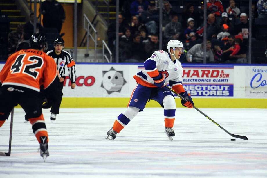 Sound Tigers defenseman Parker Wotherspoon looks to make a pass during an April 10, 2016, game against the Lehigh Valley Phantoms at Webster Bank Arena in Bridgeport. Photo: Michael Cummo / Hearst Connecticut Media / Stamford Advocate