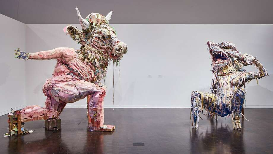 """Two recent works by Elisabeth Higgins O�Connor, """"lullaby/lament"""" (left) and """"blame/thirst,"""" are in the exhibition """"Jewish Folktales Retold: Artist as Maggid"""" through Jan. 28 at the Contemporary Jewish Museum, San Francisco. Photo: JKA Photography, Contemporary Jewish Museum"""