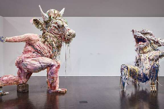 """Two recent works by Elisabeth Higgins O�Connor, """"lullaby/lament"""" (left) and """"blame/thirst,"""" are in the exhibition """"Jewish Folktales Retold: Artist as Maggid"""" through Jan. 28 at the Contemporary Jewish Museum, San Francisco."""