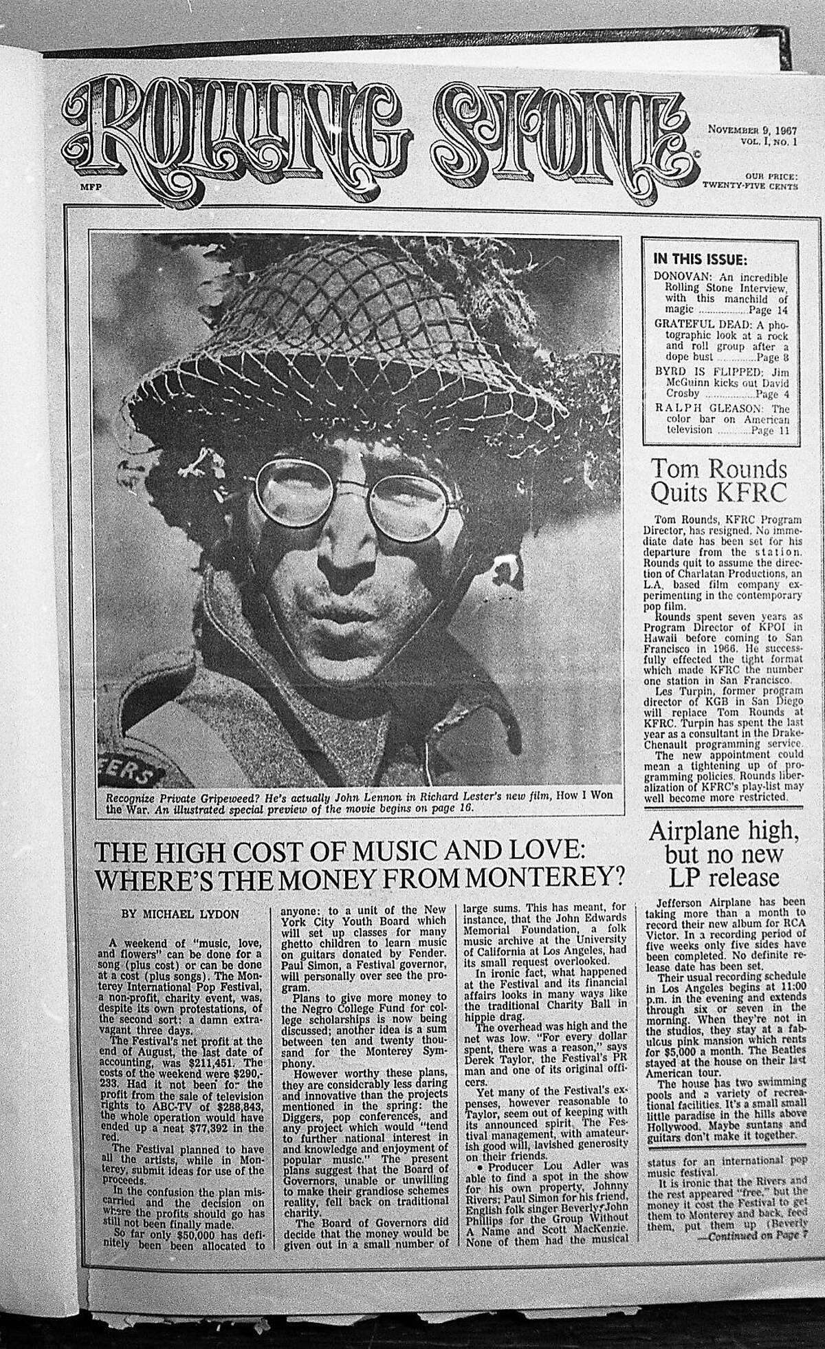 The first issue of the Rolling Stone, dated November 9, 1967