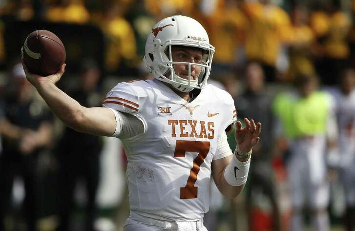 Texas quarterback Shane Buechele throws against Baylor on Oct. 28 in Waco.