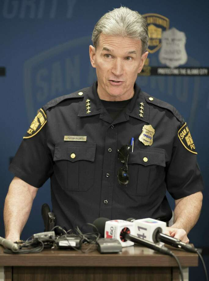 San Antonio Police Chief William McManus speaks during a press conference regarding the expanded involvement of state law enforcement in San Antonio to assist local authorities in cracking down on gang-related activity and growth in violent crime, Monday, Oct. 30, 2017, at Public Safety Headquarters in Downtown San Antonio. (Darren Abate/For the Express-News) Photo: Darren Abate, FRE / San Antonio Express-News