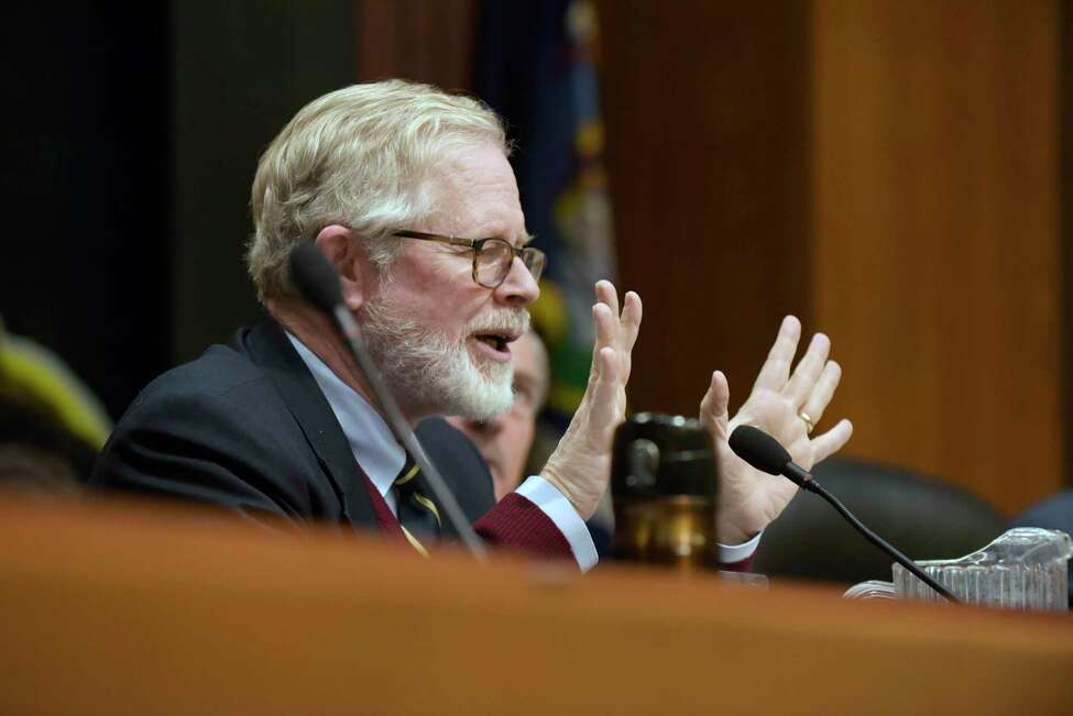 New York State Assemblyman Richard Gottfried asks a question of the commissioner of the New York State Department of Corrections and Community Supervision during a hearing held by the Assembly Committee on Health and the Assembly Committee on Corrections on Monday, Oct. 30, 2017, in Albany, N.Y. (Paul Buckowski / Times Union)