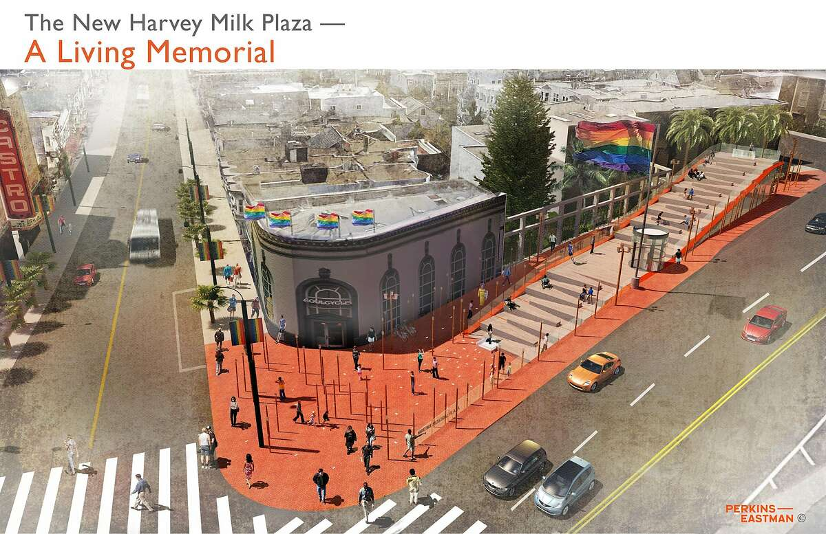The proposed design for Harvey Milk Plaza by a team led by the San Francisco office of Perkins Eastman. This is one of three finalists in a design competition organized by the Friends of Harvey Milk Plaza and the local chapter of the American Institute of Architects. The space also serves as a subway entrance; an estimated $10 million in private funds will need to be raised before anything is changed.