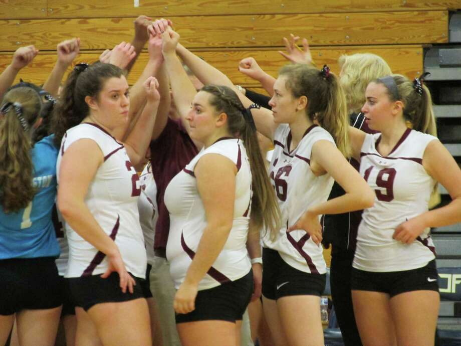 Torrington's volleyball team pulled together for two comeback wins in an NVL Tournament semifinal sweep over Woodland Monday night at Kennedy High School. Photo: Peter Wallace / For Hearst Connecticut Media