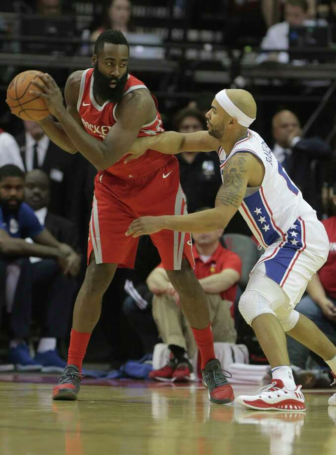 Houston Rockets guard James Harden (13) post up against Philadelphia 76ers guard Jerryd Bayless (0) in the first half of game action between Houston Rockets and Philadelphia 76ers at the Toyota Center on  Monday, Oct. 30, 2017, in Houston. Photo: Elizabeth Conley, Houston Chronicle / © 2017 Houston Chronicle