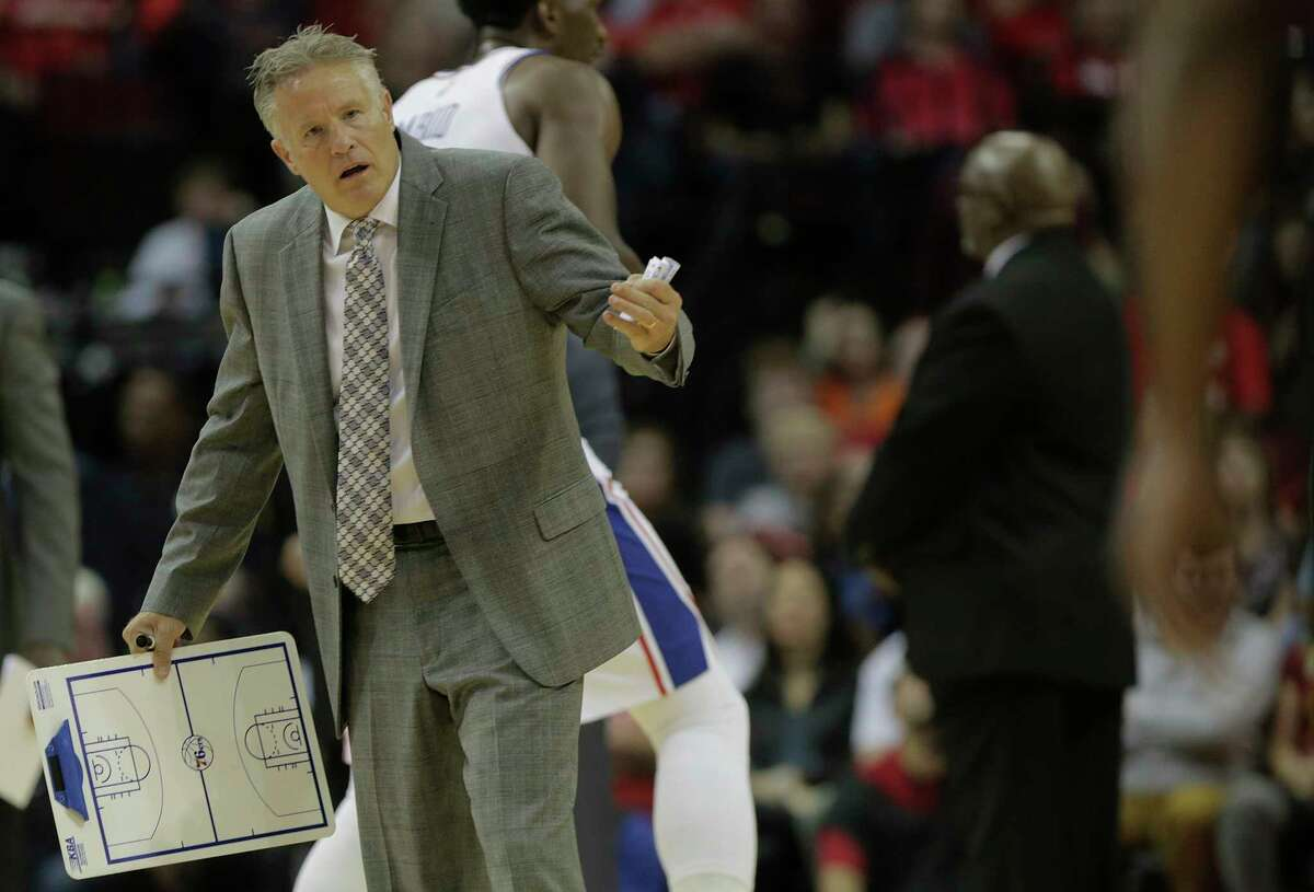 Philadelphia 76ers head coach Brett Brown reacts to an offensive foul call during a time out at the Toyota Center on Monday, Oct. 30, 2017, in Houston.