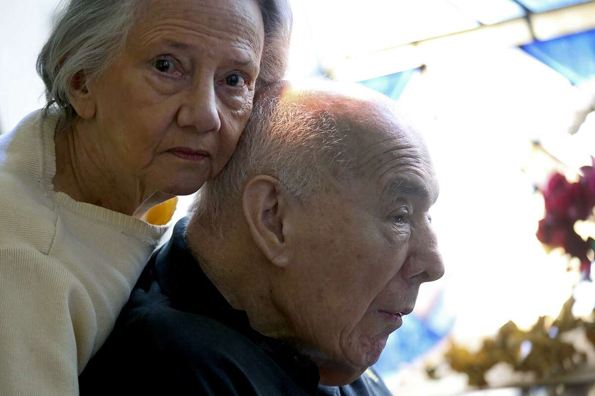 Caroline Cavazos spends time with her husband, retired Gen. Richard Cavazos, last year at the Army Residence Community in San Antonio.