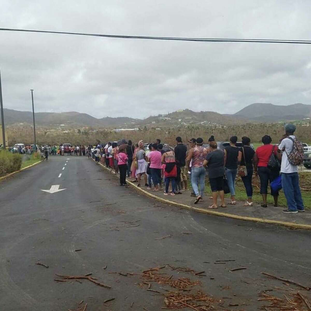 A photo of people standing in line for groceries on Sept. 26, 2017, on St. Croix in the U.S. Virgin Islands after Hurricane Maria hit a week before. Glens Falls resident Rich Morin took the picture while he was standing in line. Morin didn't lose his house, but has lived since then with no electricity or water. (Courtesy Rich Morin)