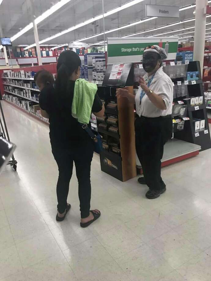 Harold Leffall, a customer at a Staples store in Pleasant Hill, took this photo of a worker wearing black face paint as part of a Halloween costume. Photo: Courtesy Harold Leffall