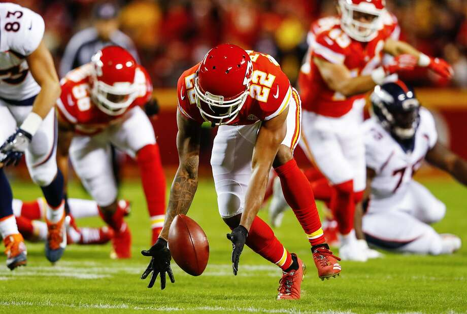 Chiefs cornerback Marcus Peters ran with this fumble 45 yards for a TD to open the scoring in a 29-19 victory over the Broncos at Arrowhead Stadium. Photo: Jamie Squire, Getty Images