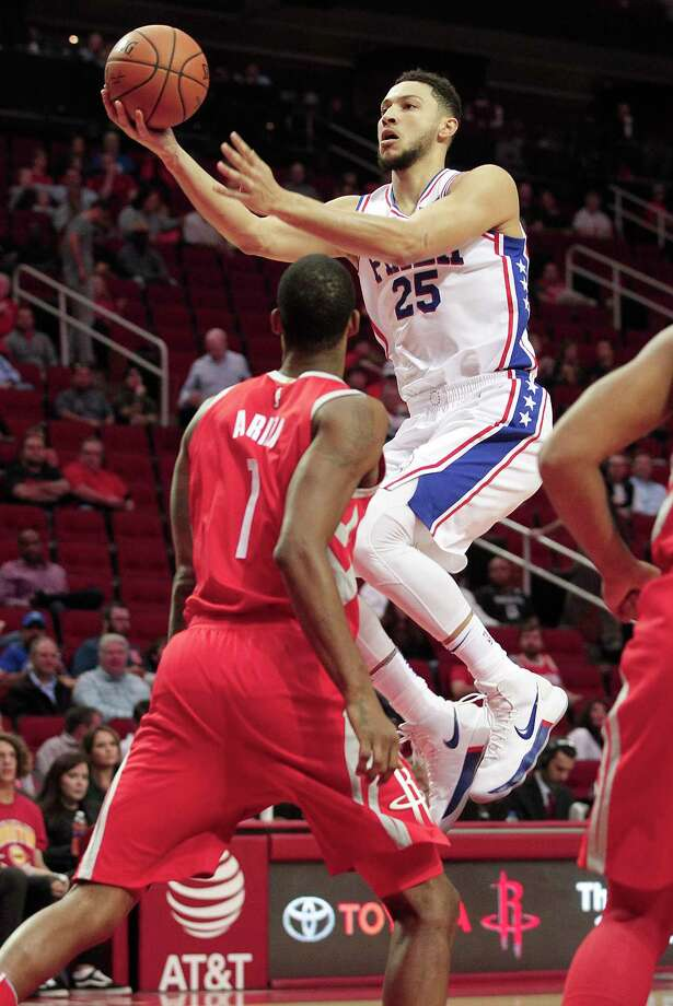 Philadelphia 76ers guard Ben Simmons (25) puts up two of his 24 points against the Houston Rockets at the Toyota Center on  Monday, Oct. 30, 2017, in Houston. Photo: Elizabeth Conley, Houston Chronicle / © 2017 Houston Chronicle