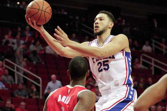 Philadelphia 76ers guard Ben Simmons (25) puts up two of his 24 points against the Houston Rockets at the Toyota Center on  Monday, Oct. 30, 2017, in Houston.
