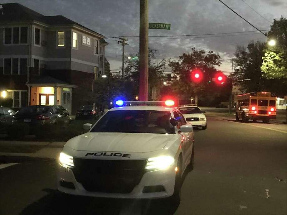 Police close down Dickerman Street in overnight standoff Photo: Jessica Lerner / Hearst Connecticut Media