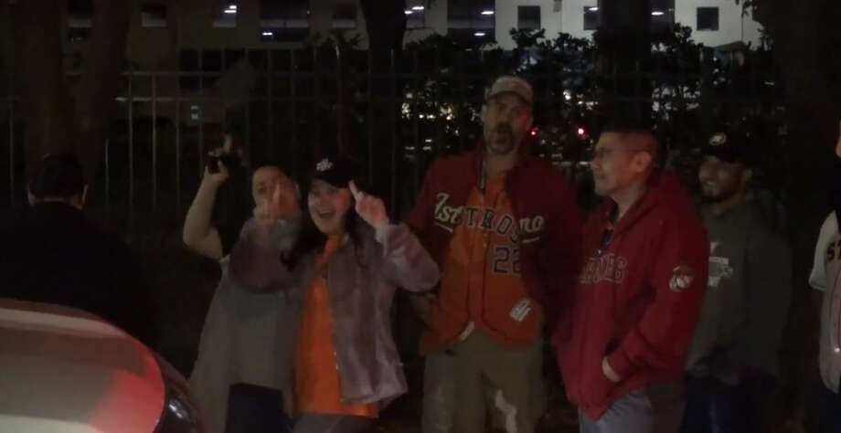 Fans lined up Tuesday morning outside Mattress Mack's Gallery Furniture to try and win tickets and airfare to Los Angeles to see the Astros face off against the Dodgers in Game 6. Photo: Metro Video