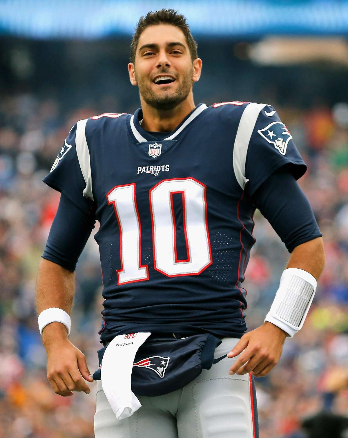 Jimmy Garoppolo of the New England Patriots reacts before a game against the Los Angeles Chargers at Gillette Stadium on October 29, 2017 in Foxboro, Massachusetts.