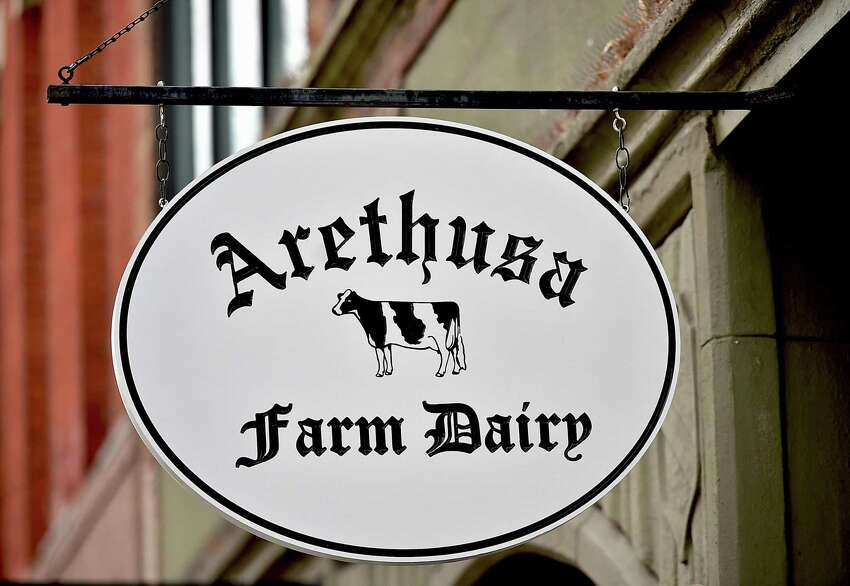 Sign for Arethusa Farm Dairy at 1020 Chapel St. in New Haven, where the Bantam company sells milk, cheese, cream, butter and ice cream.