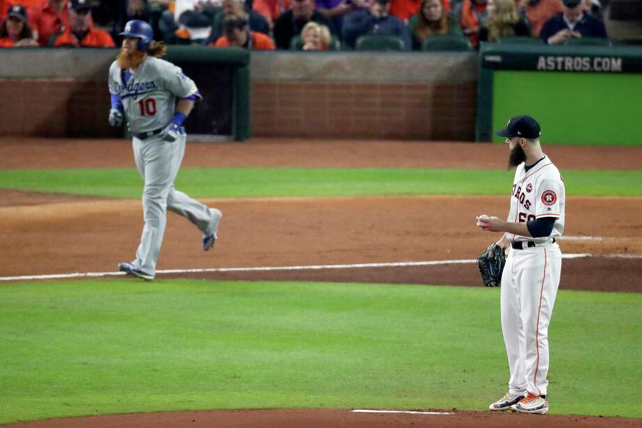 FIRST INNING - DODGERS 3, ASTROS 0  Two walks, two singles by the Dodgers and an error and 32 pitches by Dallas Keuchel not a good start. Photo: Michael Ciaglo, Houston Chronicle / Michael Ciaglo