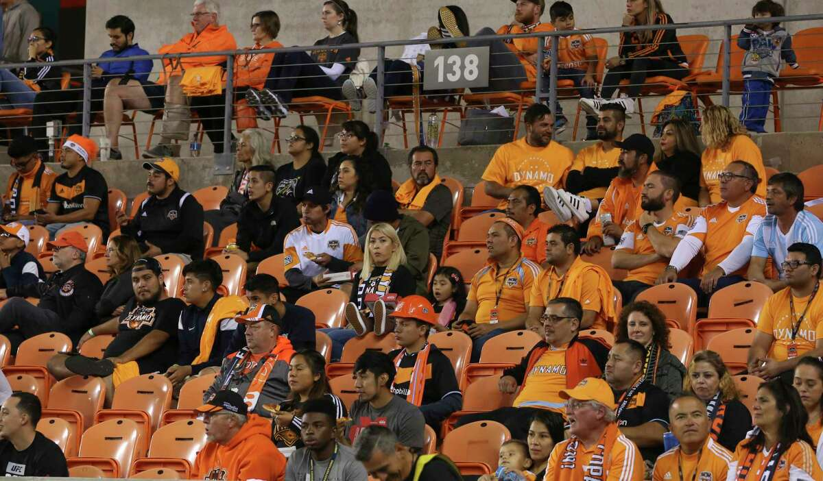 Fans are not filling the seats for a Houston Dynamo's Leg 1 MLS Semifinal match against the Portland Timbers at BBVA Compass Stadium Monday, Oct. 30, 2017, in Houston. The Houston Dynamo tied with Portland Timbers 0-0. ( Yi-Chin Lee / Houston Chronicle )