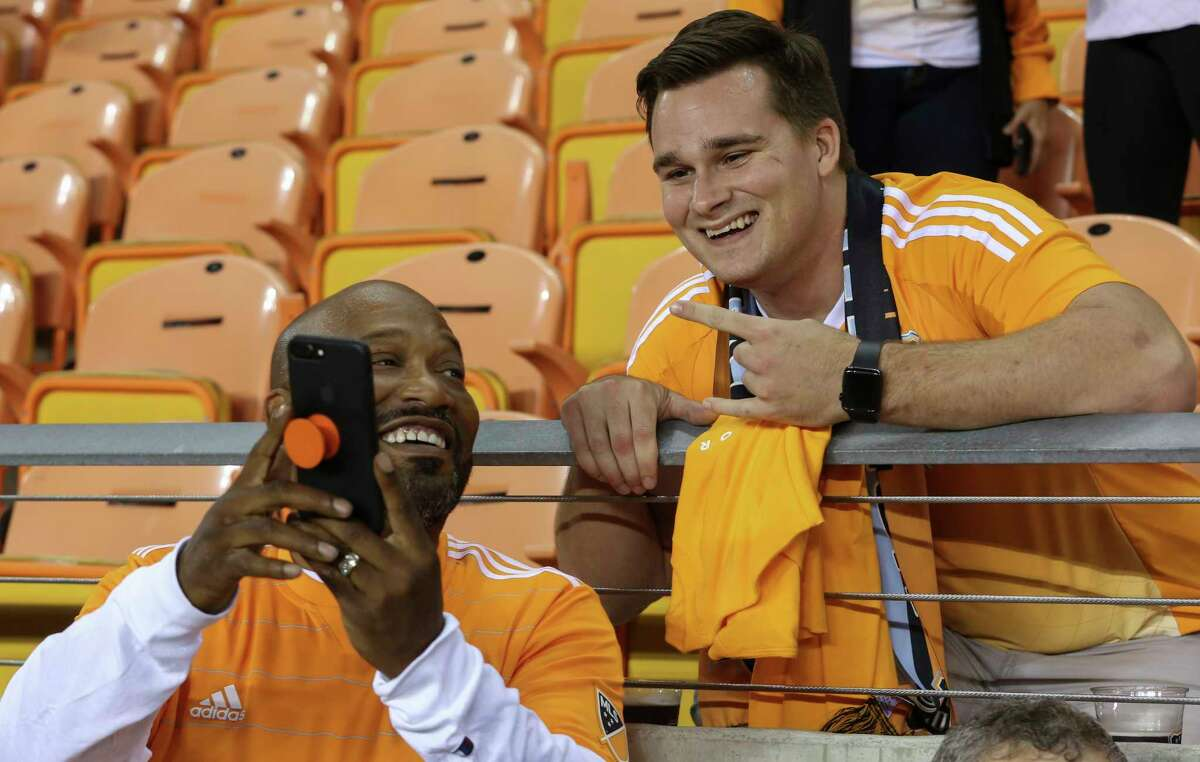 Houston rapper Bun B takes a selfie with a Houston Dynamo fan before the Leg 1 MLS Semifinal match Portland Timbers at BBVA Compass Stadium Monday, Oct. 30, 2017, in Houston. ( Yi-Chin Lee / Houston Chronicle )