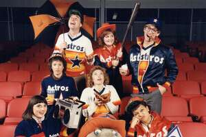 Members of the Houston Astros' marketing department hammed it up for an advertising campaign in the 1980s.