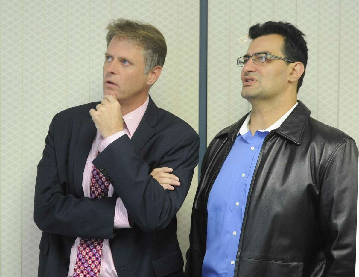Republicans Kieran Ryan, left, and Sal Gabriele will automatically earn spots on the Stamford Board of Finance.