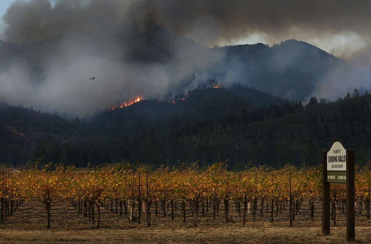 The Nuns fire creeps towards Sonoma Valley Oct. 17, 2017 in Kenwood, Calif.