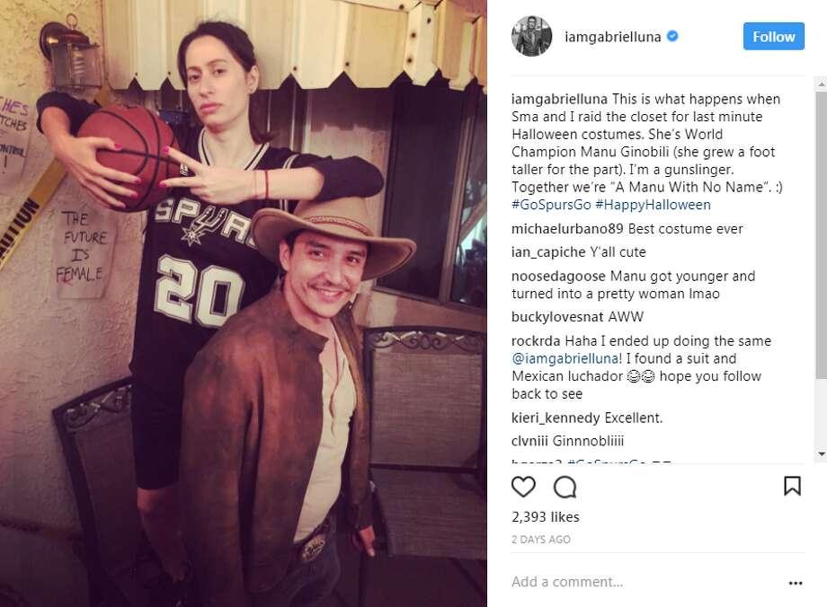 "Agents of S.H.I.E.L.D actor Gabriel Luna and his wife, Smaranda Luna, dressed as a ""Manu with No Name: for Halloween."