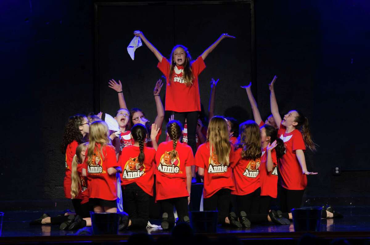 """It's a """"Hard Knock Life"""" for Annie's orphans, as they rebel against Miss Hannigan. Orphan Molly (Anna Baden) leads the charge inInspiration Stage's production of """"Annie Jr."""""""