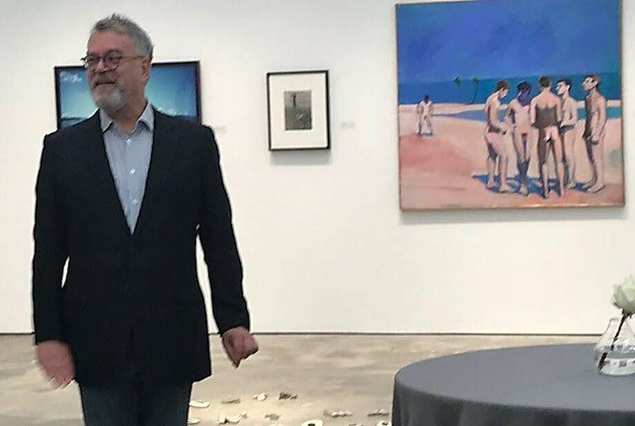 "Nion McEvoy with Theophilus Brown's ""Male Bathers,"" from his mother's collection, in background Photo: Leah Garchik, San Francisco Chronicle"