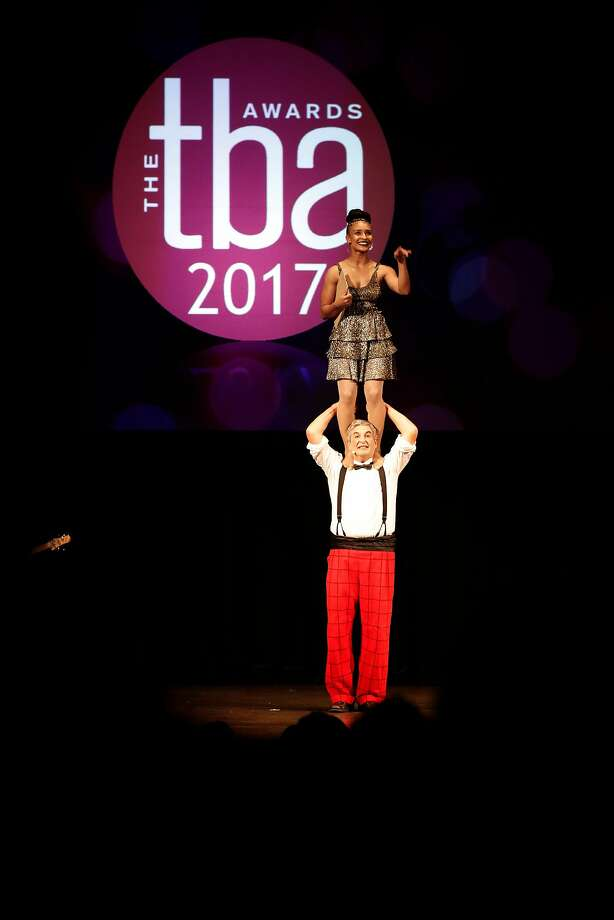 Hosts Jeff Raz and Tristan Cunningham added some acrobatics to their patter at the Theatre Bay Area Awards. Photo: Michael Macor, The Chronicle