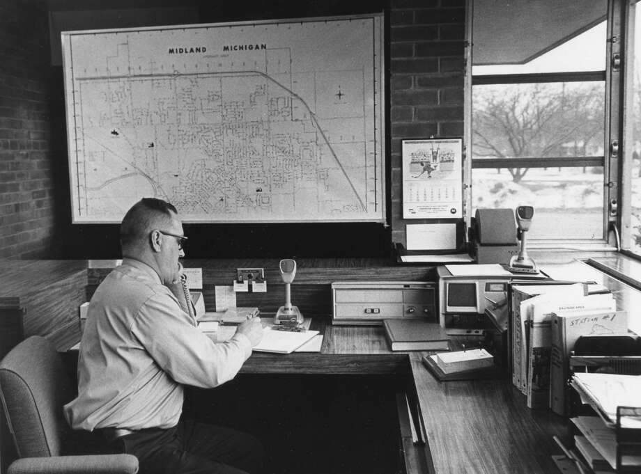 Capt. Marvin C. Spraetz is on duty in the newly equipped dispatch office at the Haley Street fire station. January 1973 Photo: Daily News File Photo