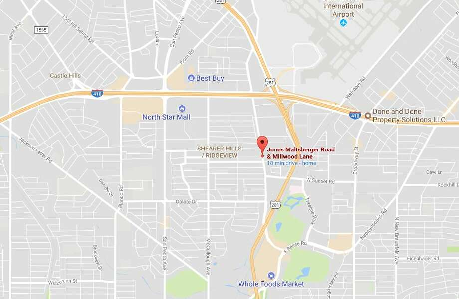 The victim, who has not been identified, attempted to cross Jones Maltsberger Road near Millwood Lane just after 10 p.m. when he was struck by a woman in a station wagon. Photo: Google Maps