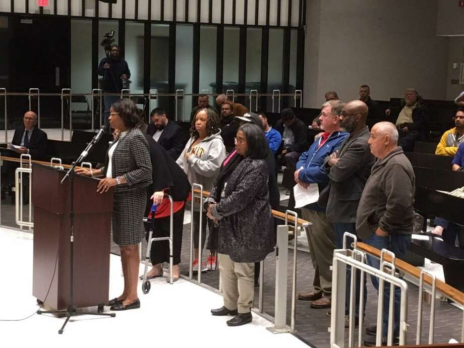 Bridgeport Board of Education members and supporters address Planning and Zoning Commission. October 30, 2017 Photo: Linda Conner Lambeck